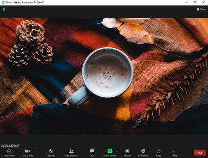 These fall Zoom backgrounds include a cozy latte scene.