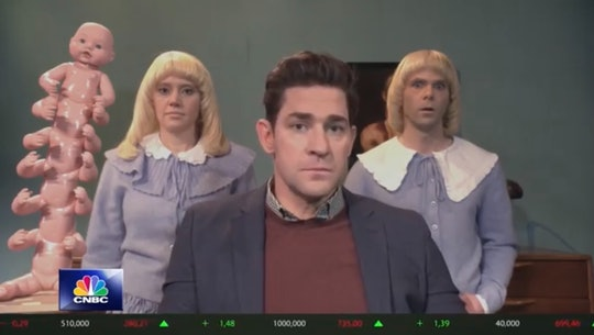 John Krasinski plays a loving father of terrifying twins played by Kate McKinnon and Mikey Day.