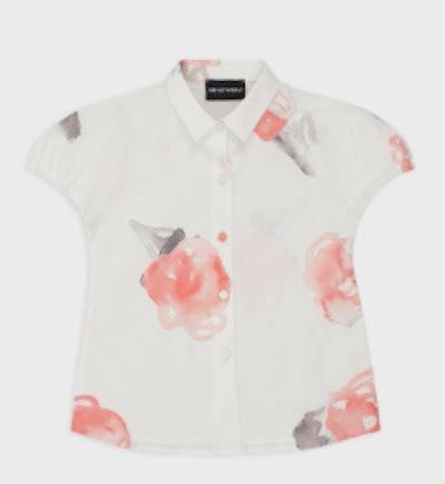 Poplin shirt with a watercolour print