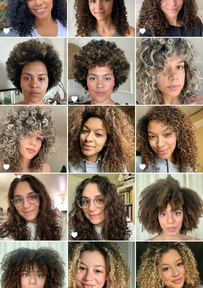 Before and after photos of Ouai's curl cream testers, all with different curl patterns.
