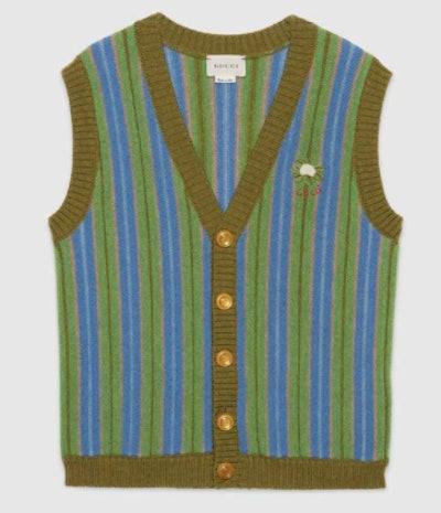 Children's wool striped vest with Gucci cauliflower