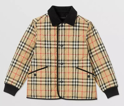 Corduroy Trim Vintage Check Diamond Quilted Jacket