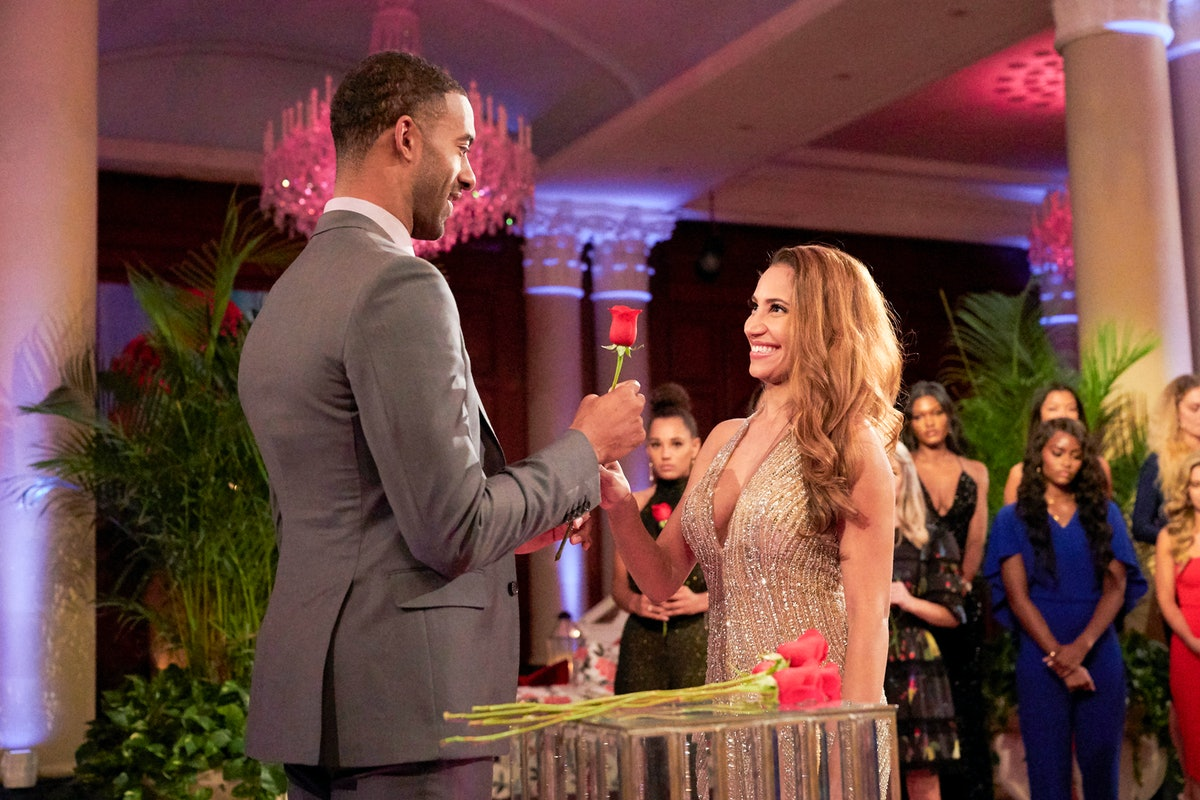 Ryan Claytor accepting a rose from Matt James during a rose ceremony on 'The Bachelor' Season 25