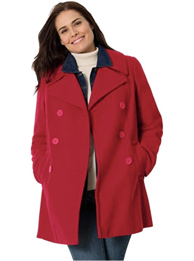 Woman Within Wool-Blend Double-Breasted Peacoat