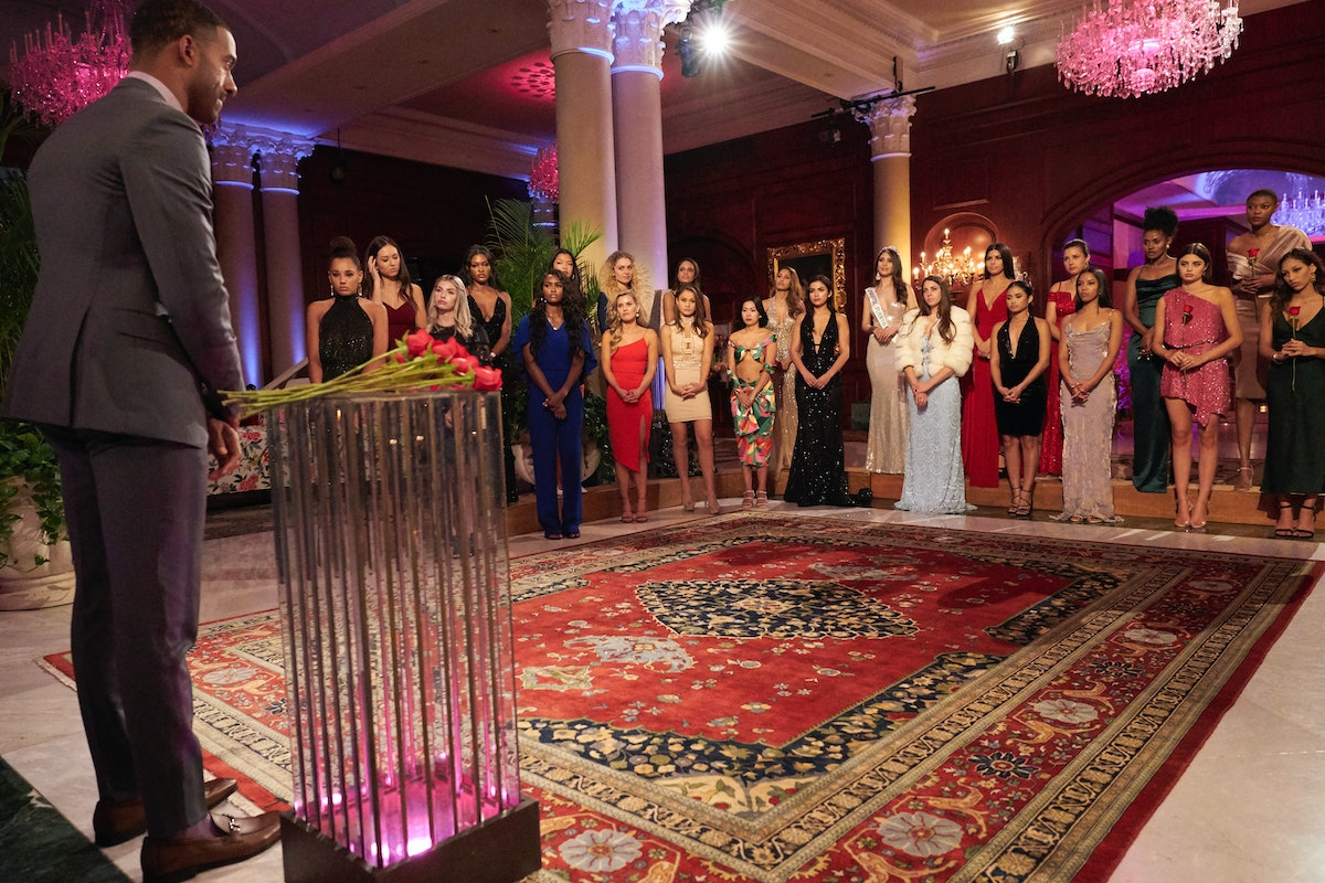 The 'Bachelor' contestants during a Season 25 rose ceremony with Matt James