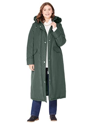 Woman Within Long Microfiber Parka Coat