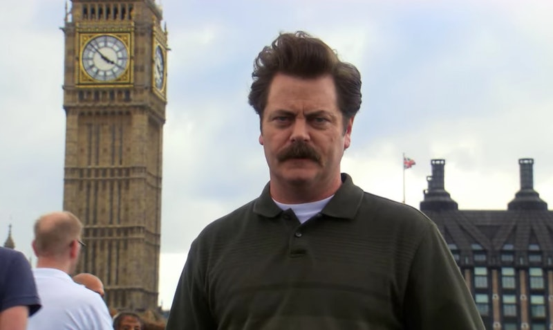 Ron Swanson joins Leslie, Ben, Andy and April on their trip to London in 'Parks and Rec'.