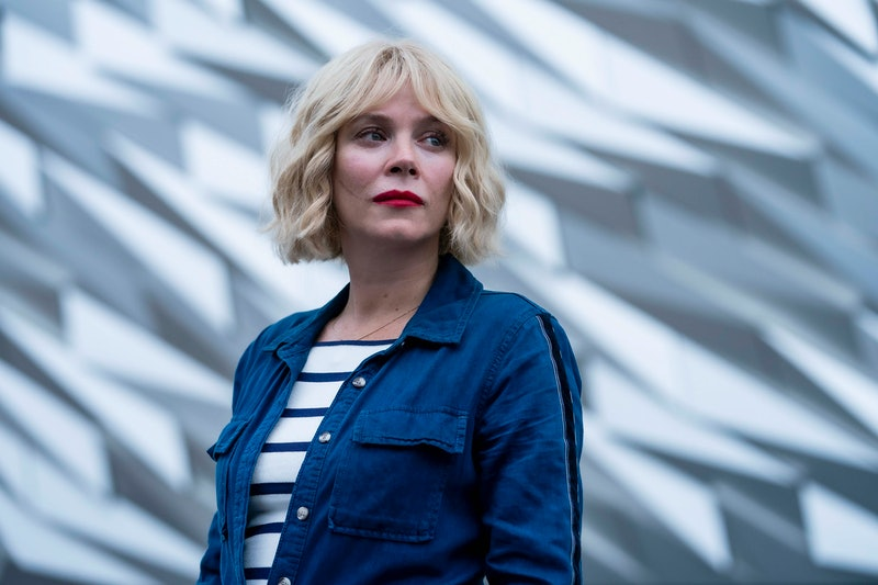 ANNA FRIEL as Marcella Backland in ITV's Marcella. She wears a wavy blonde wig cut into a bob with a...