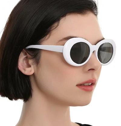 White Oval Retro Sunglasses