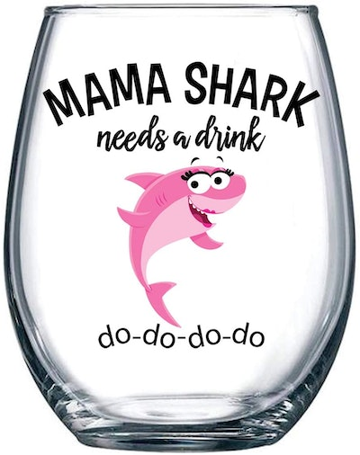 Mama Shark Needs a Drink Funny Wine Glass