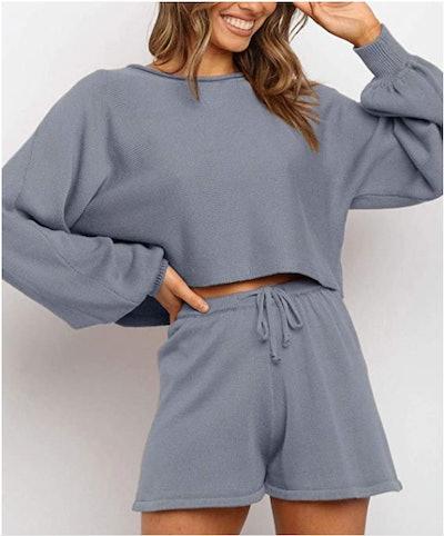 ZESICA Short Knit Loungewear Set
