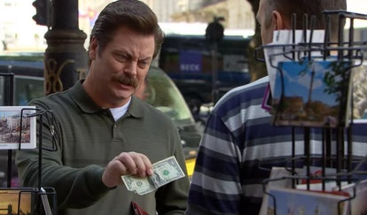 Ron Swanson tries to buy a postcard with a one dollar bill.