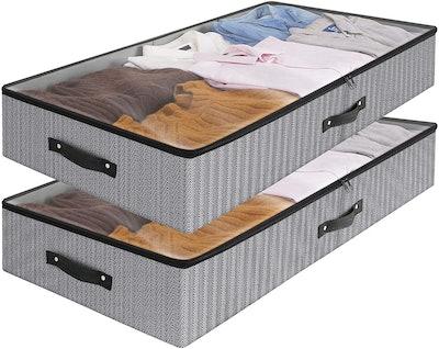 WISELIFE Under Bed Storage Bins (2-Pack)