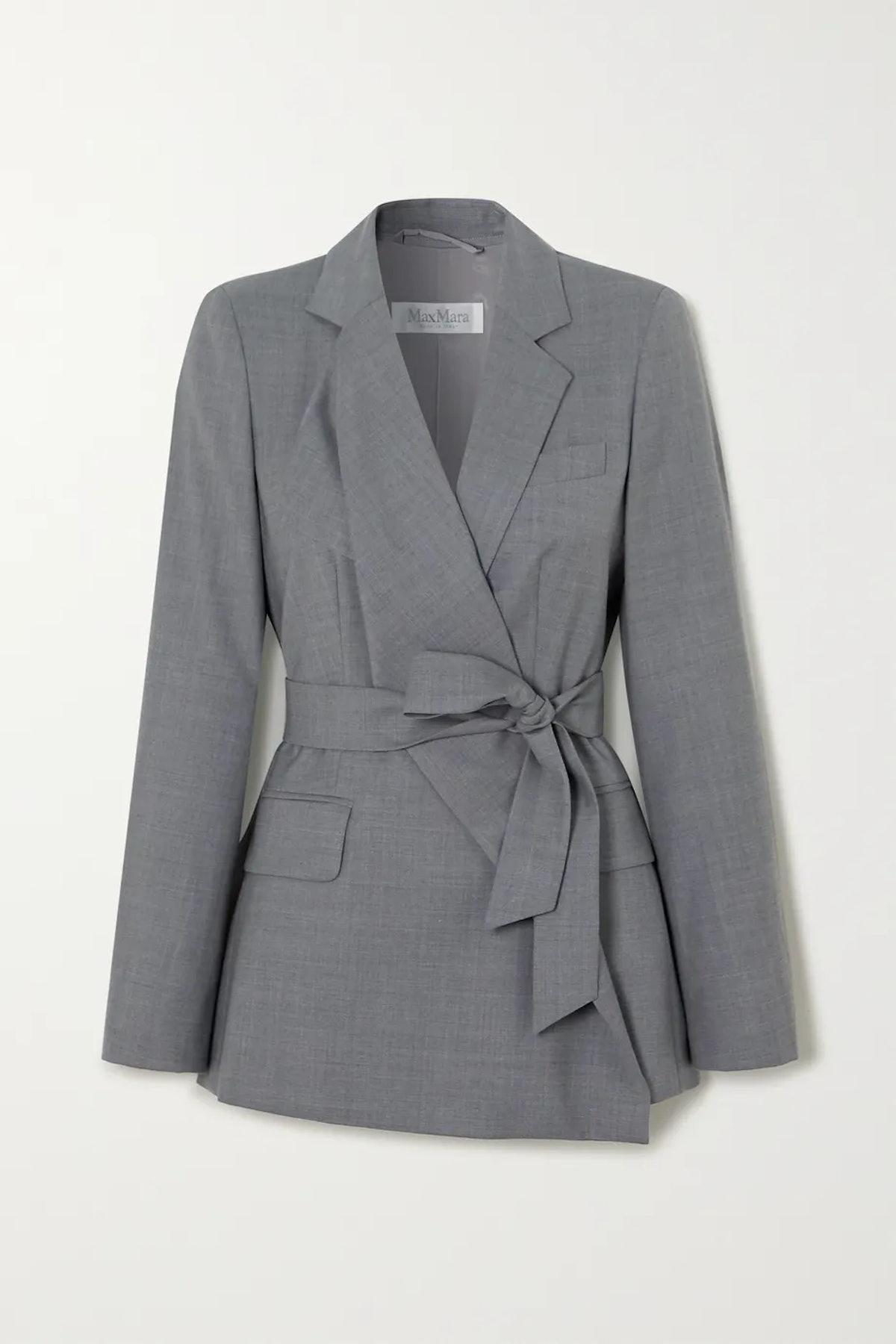 Belluno Belted Asymmetric Wool Blazer