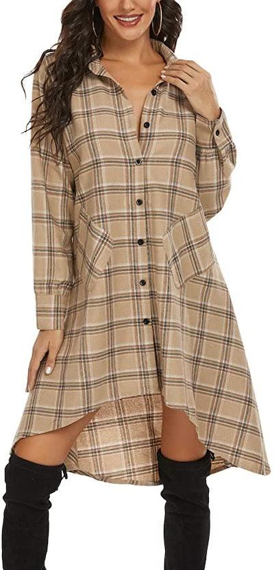 OLRAIN Irregular Hem Shirt Dress