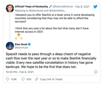 Tweet screenshoot of an exchange about Starlink's inability to offer lower prices for developing countries.
