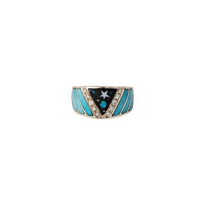 Galaxy Chevron Opal Inlay Ring