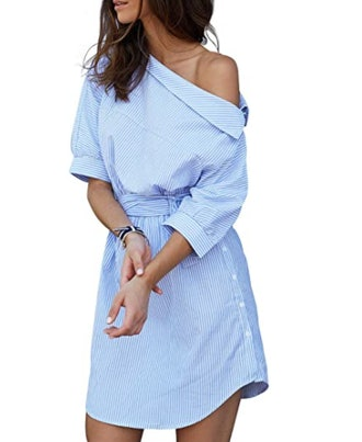 Simplee Apparel Belted Shirt Dress