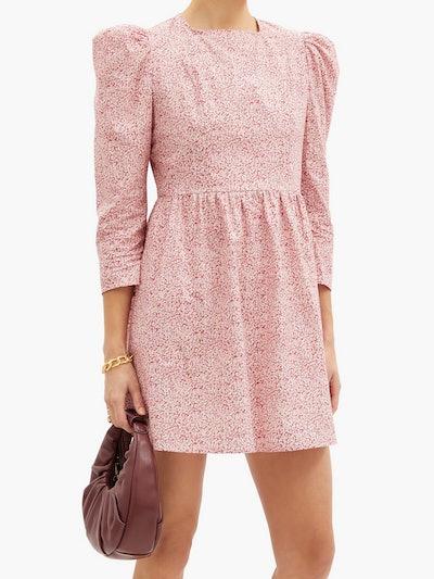 Batsheva Puff-Sleeve Floral-Print Cotton Mini Dress