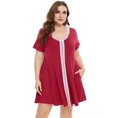 LARACE Plus Size Lace Sleep Shirt