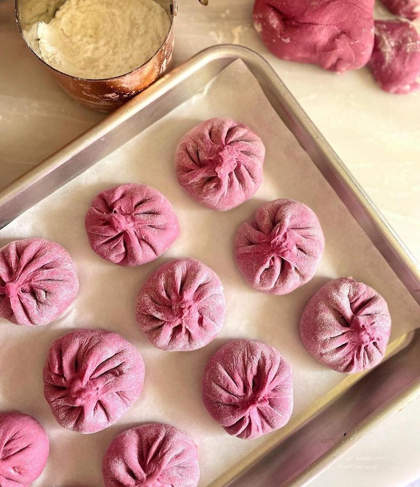 pink dumplings lunar new year dishes