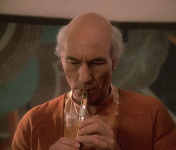 """Captain Picard plays the flute in the acclaimed 'Star Trek: The Next Generation' episode, """"The Inner Light"""""""