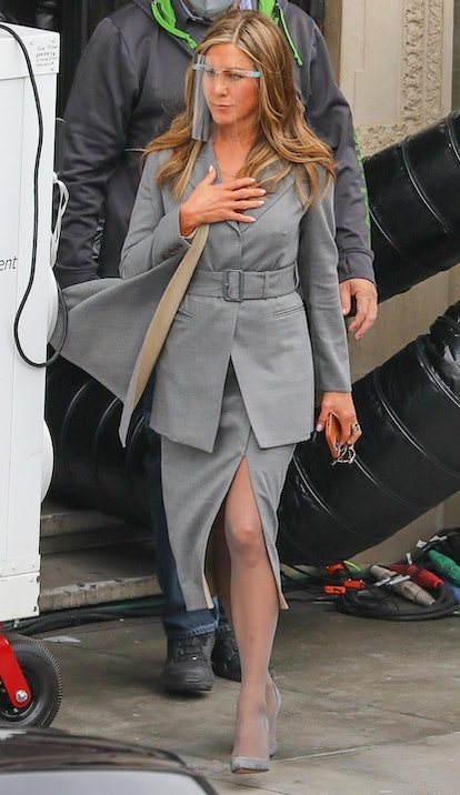 Jennifer Aniston on the set of The Morning Show in Los Angeles on Feb. 9, 2020.