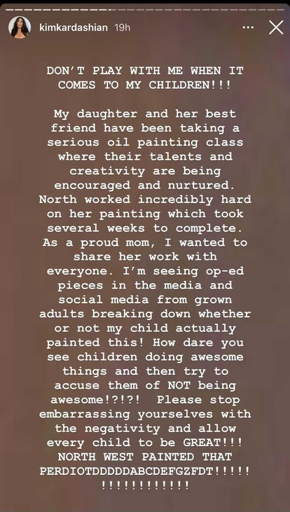 Kim Kardashian responded to people who doubted her daughter's art skills.
