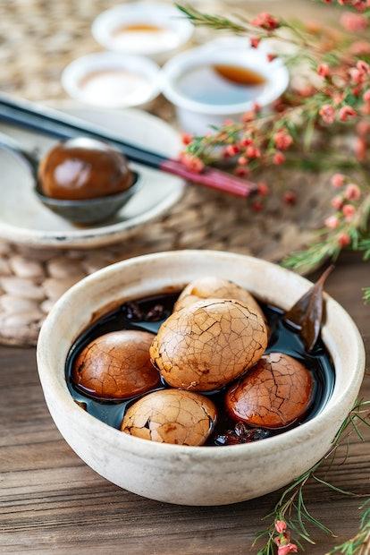 tea eggs lunar new year dishes