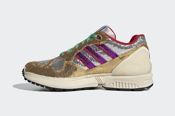 Gold sequin sneaker with purple stripes