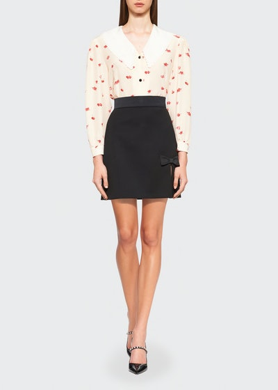 Heart-Print Collared Blouse