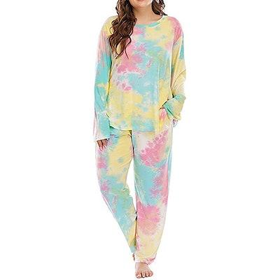 Allegrace Plus Size Tie Dye Long Sleeve Sleep Set