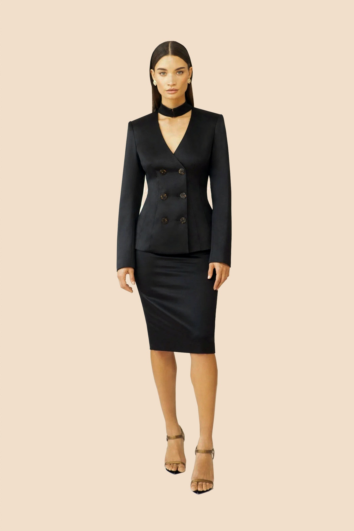 Silk Wool Double Breasted Choker Jacket