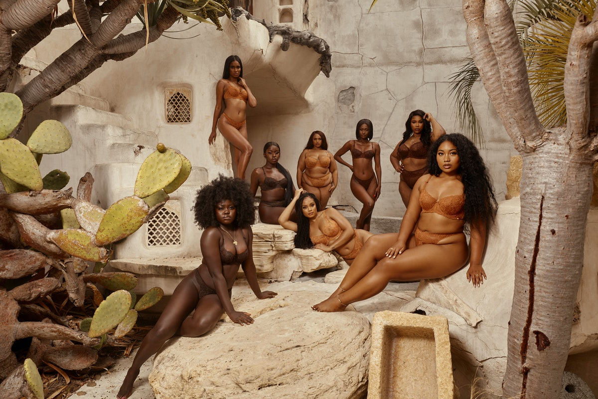 Models wear lingerie brand Love, Vera's nude collection in various skin-tone shades
