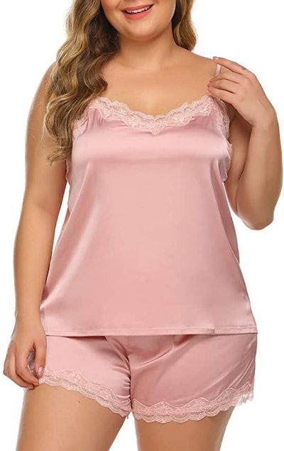 IN'VOLAND Plus Size Satin Pajama Set