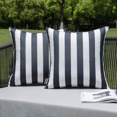 MIULEE Striped Outdoor Pillow Shams (Set of 2)