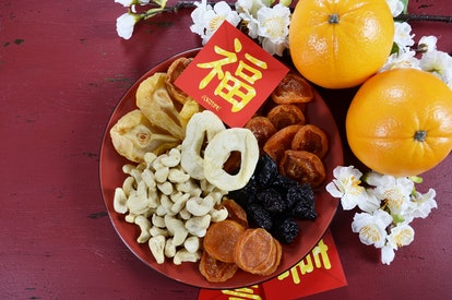 dried fruit tray Chinese Lunary new year dishes
