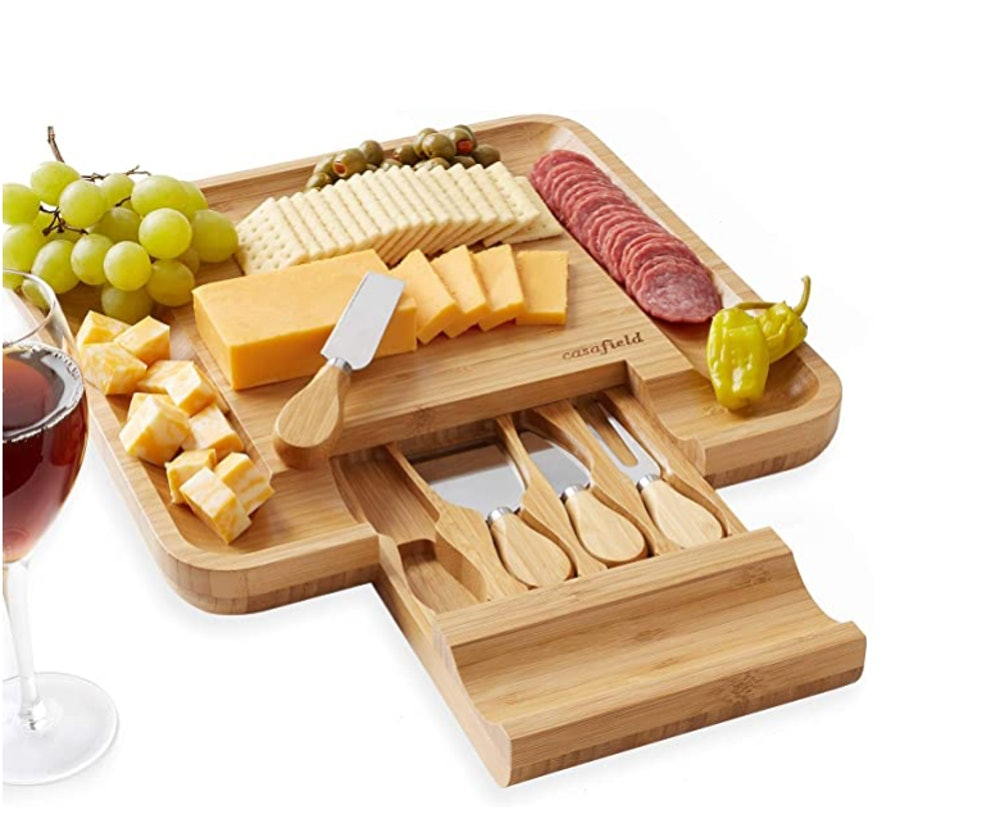 Casafield Organic Bamboo Cheese Cutting Board & Knife Gift Set