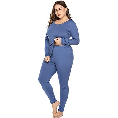 IN'VOLAND Plus Size Thermal Long Johns Pajama Set