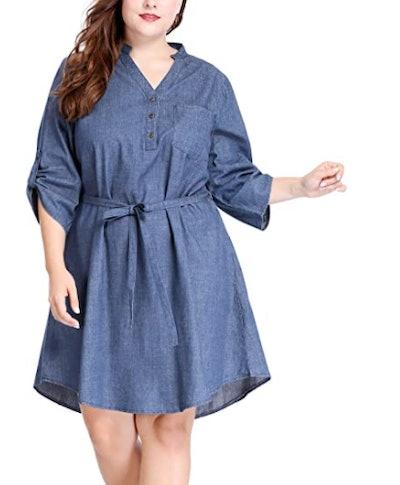 uxcell Belted Denim Dress