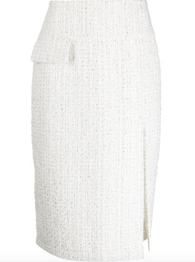 Side-Slit Tweed Skirt