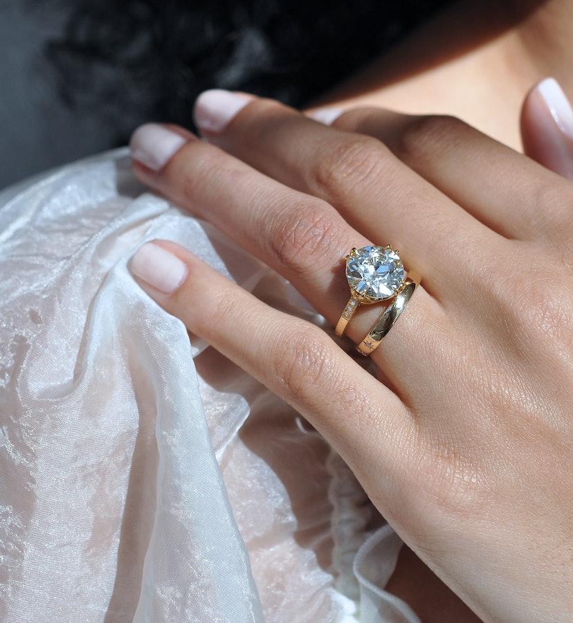 An Ashley Zhang engagement ring, featuring an Old European Cut Diamond.