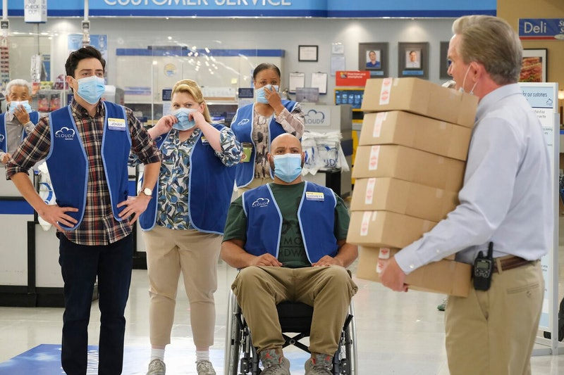The Cloud 9 associates work together before 'Superstore' ends March 25. Photo via NBC
