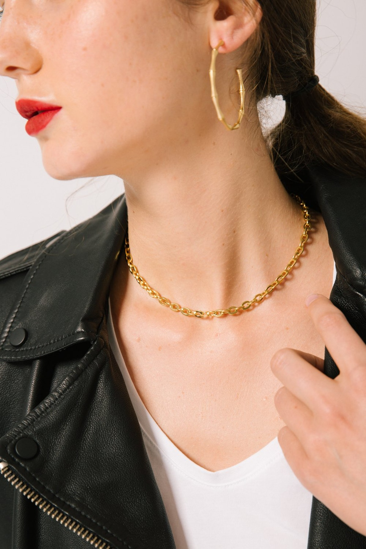 """Koko Capri """"Rocco"""" Gold Plated Curb Pattern Necklace and Choker, Baroque"""