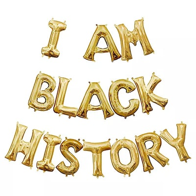 Air-filled Gold I Am Black History Balloon Phrase