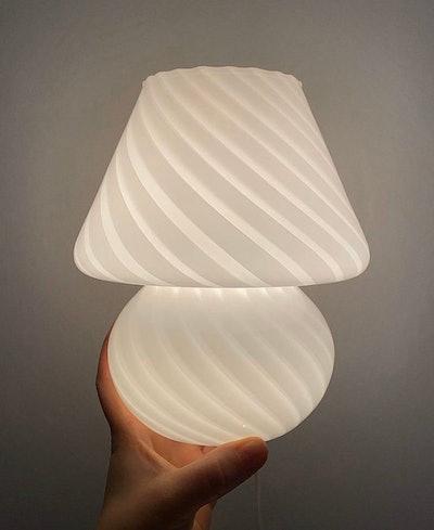 Flovina Baby Mushroom Glass Stripe Desk Lamp