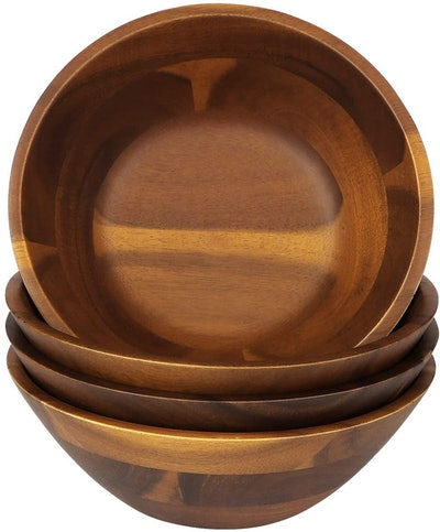 AIDEA Wooden Bowls (0.6 Quarts, Set of 4)