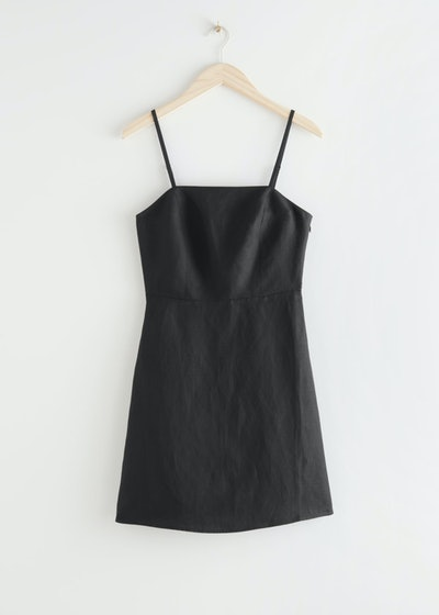 Fitted Linen Blend Mini Dress