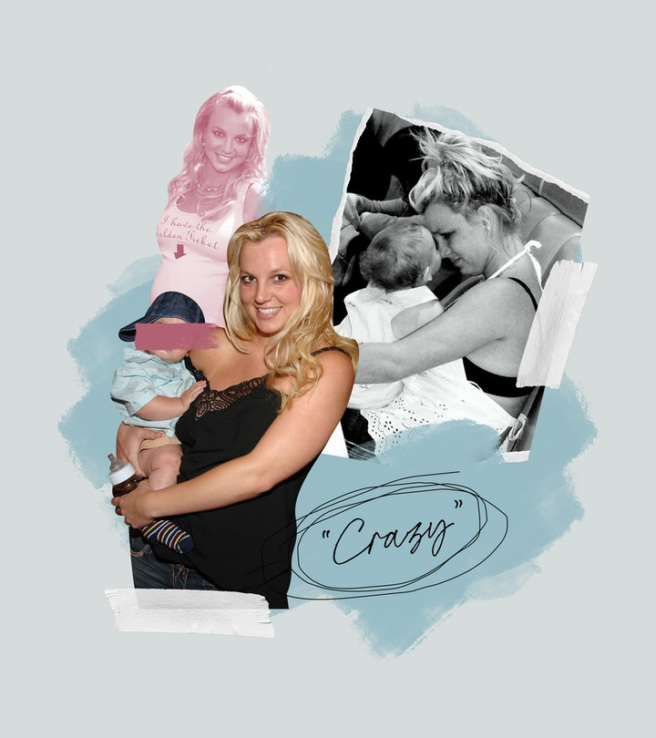 "A collage of Britney Spears with her babies and the word ""crazy"" in quotes"