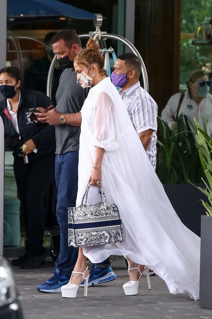 Jennifer Lopez and Alex Rodriguez leave Mr. C Coconut Grove, The Modern Miami Luxury Hotel on Feb. 10, 2021.